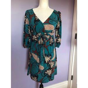 Bisou Bisou Michele Bohbot Turquoise print dress